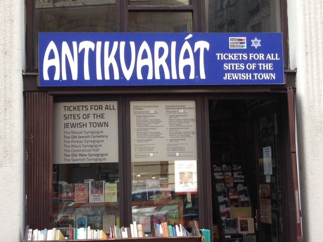 Second-hand bookstore in Jewish Quarter, Prague