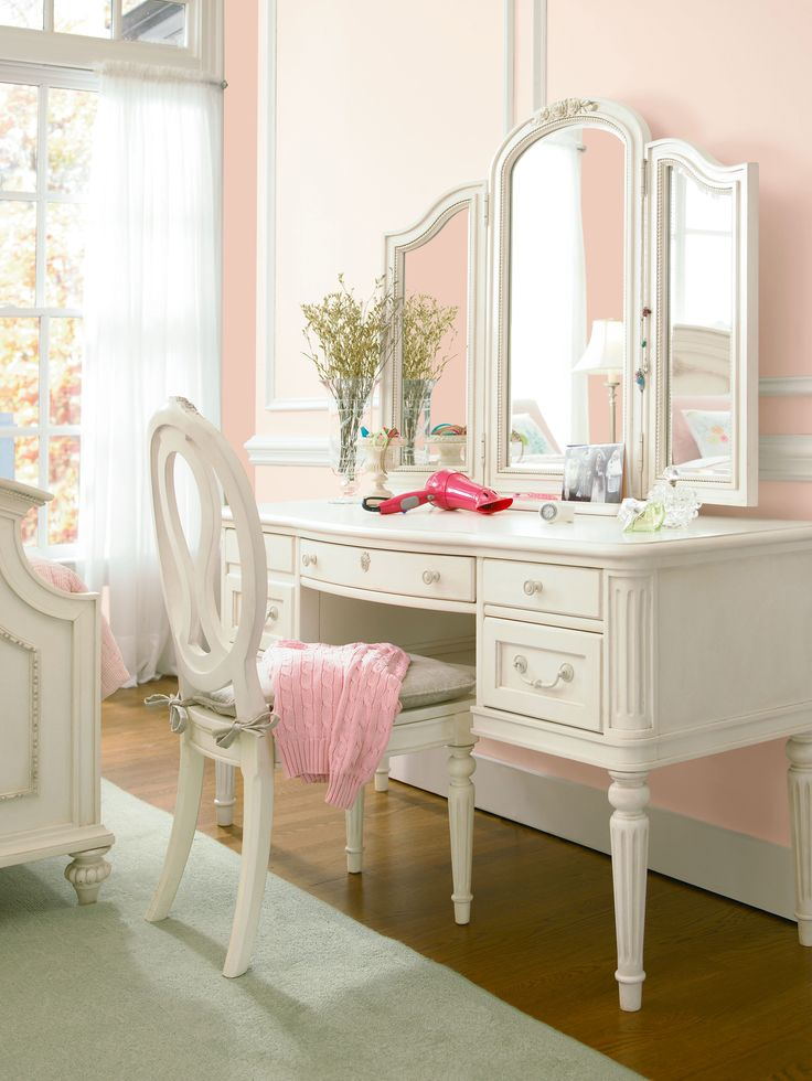 Gabriella Collection Dressing Mirror Vanity Desk And Chair With Storage Seat All In