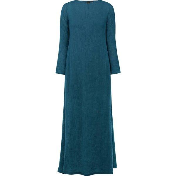 UNIQLO Hana Tajima Crepe Long Dress ($28) ❤ liked on Polyvore featuring dresses, textured dress, uniqlo dress, long dresses, blue dresses and long length dresses