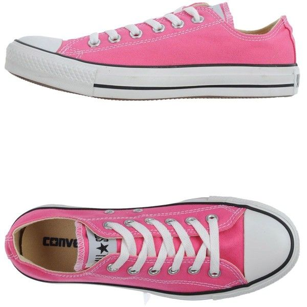 Converse All Star Sneakers found on Polyvore featuring shoes, sneakers, converse, pink, trainers, converse sneakers, converse trainers, round toe flat shoes, pink shoes and converse footwear