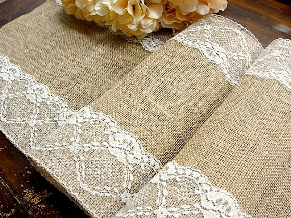 155 best BURLAP AND LACE WEDDING TABLE RUNNERS images on Pinterest ...
