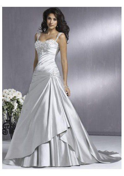 Cheap Princess Straps Court Train Satin Bridal Gown