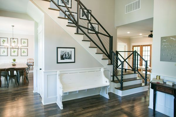 behind the scenes of hgtv 39 s fixer upper modern staircase and staircases. Black Bedroom Furniture Sets. Home Design Ideas