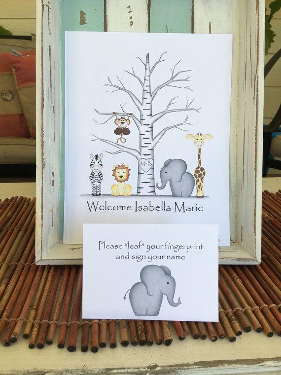 Jungle safari animaux bouleau d'empreintes digitales arbre le livre d'or personnalisé pour vous avec une girafe, singe, éléphant, zèbre et lion. Art de peuplier