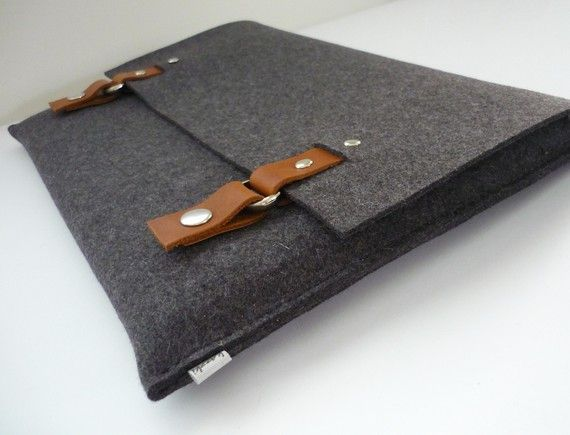 macbook sleeve in industrial dark grey felt with tan leather trim