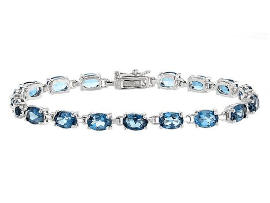 17.00ctw Oval London Blue Topaz Sterling Silver Bracelet
