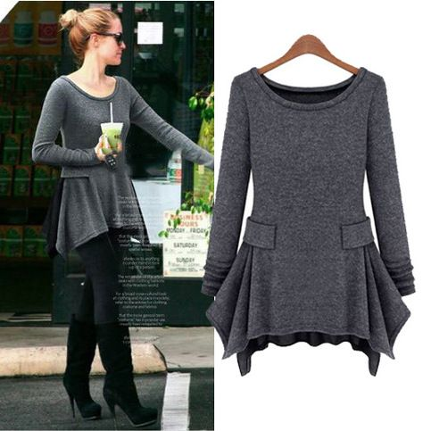 Color: Dark gray Material: Knitting Size : S, M, L Size (cm): Length , Bust , Waist  S: 79,80,68, M: 80,84,72, L: 81,88,76,