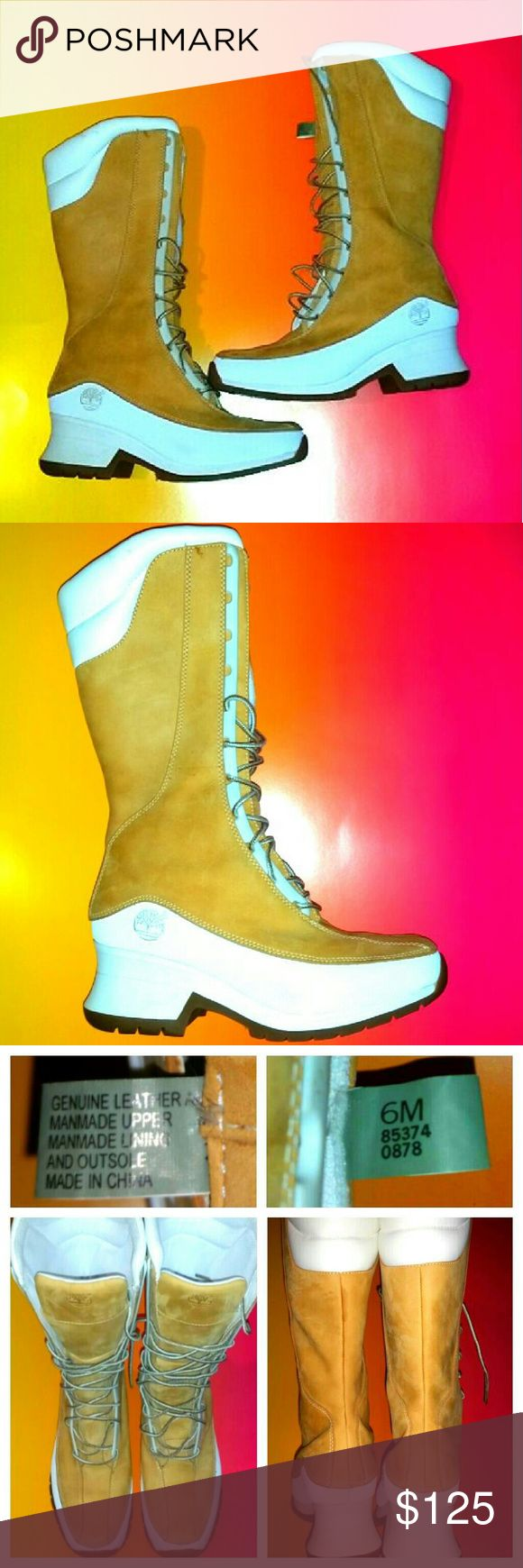 Timberland🎆SALE!!🎆 NWOB Timberland Lase Up Boots, white and tan, NWOB, Size 6, Beautiful✔Quality Leather✔Never worn✔ LOVE IT but Unfortunately a little too small for me. Shoes Lace Up Boots