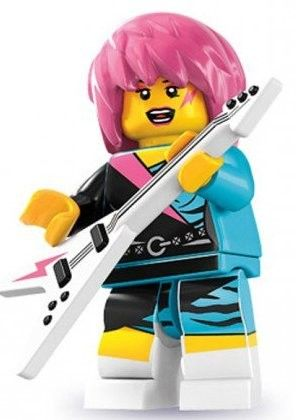 The Rocker Girl is a Collectable Minifigure released in 2012 as one of the sixteen minifigures from 8831 Minifigures Series 7. She has pink hair and a pink lightning bolt on her face. Her outfit is blue, pink, and black. She has the same guitar from Series 4's Punk Rocker, but in white, also with a pink lightning bolt.To view more female Lego Minifigs, visit our Lego section.