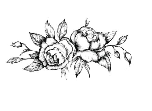 Black Roses Temporary Tattoo