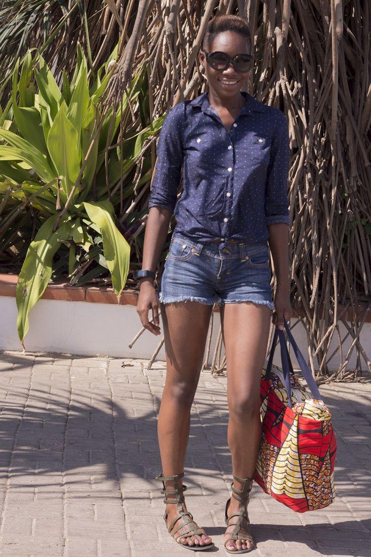 Frayed denim shorts, seen at the Swahili Fashion Week 2015 in Dar Es Salaam