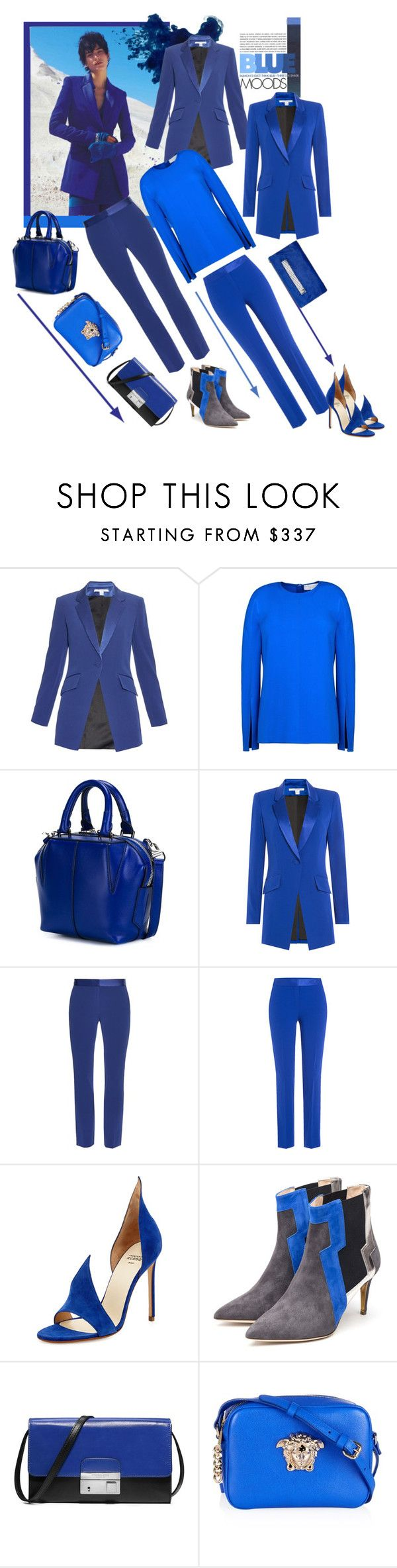 """The Big Blue"" by sylandrya ❤ liked on Polyvore featuring Diane Von Furstenberg, STELLA McCARTNEY, Alexander Wang, Francesco Russo, Rupert Sanderson, Michael Kors, Versace and McQ by Alexander McQueen"