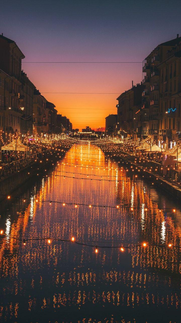 Milan City River Night Lights Celebrations 720x1280