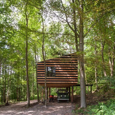 Workshop on stilts built from the surrounding woodland.
