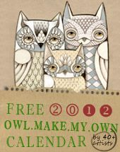 "Free and Fabulous!!! Create your own Owl calendar from original works of 45 artists world wide. Customize it too! Great examples of ""owl art"" to show to kids."