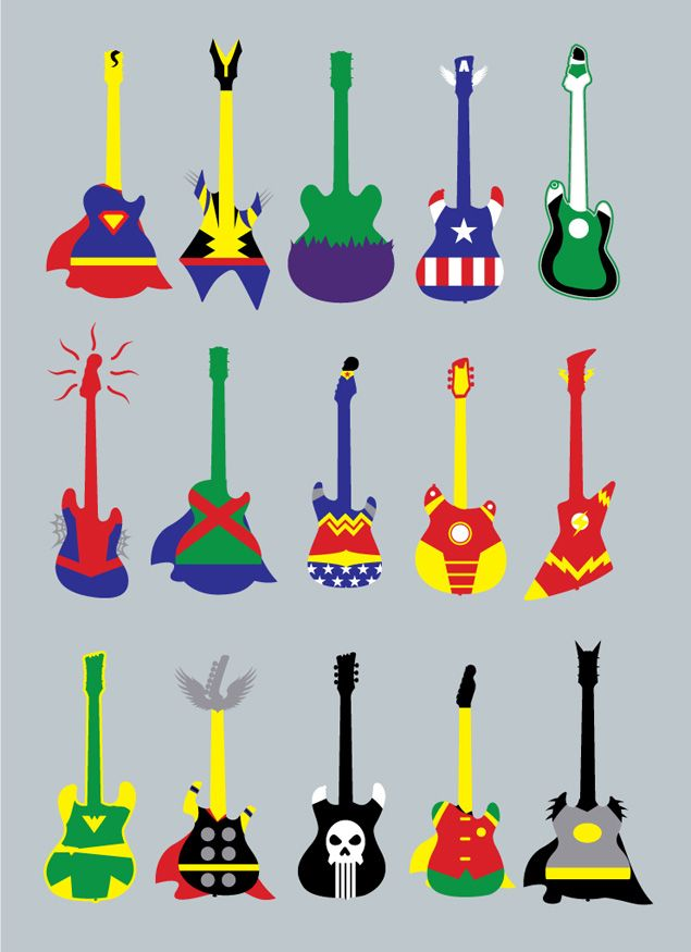 Learn to play an instrument.  Art illustration of super hero designed electric guitar.  Boys bedroom decoration or diy shirt appliqué ideas.