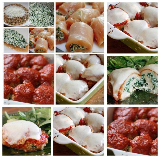 Rolinhos de Frango com Espinafre à Parmigiana //        8 filésde frango finos-    1/2 xícara de trigo integral pão ralado -     1/4 xícara de queijo parmesão ralado, divididos-     6 colheres de sopa de claras de ovos ou batedores de ovo-    200g de espinafre picados finos-    6 colheres de sopa de queijo parte desnatado ricota-     6 pedaços raladodo de desnatado mussarela ou requijão(copo)-     azeite antiaderente spray (eu uso o meu Misto-          1 xícara de molho pomodoro ou seu molho…