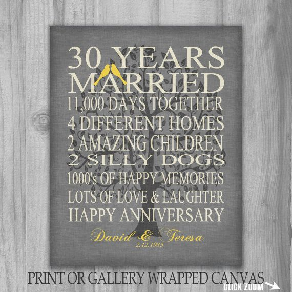 50 Year Anniversary Gift Part - 28: 30 Year Anniversary Family Tree Birds Gift Personalized Important Dates  Marriage Art Canvas Print 50 Burlap Gray Yellow