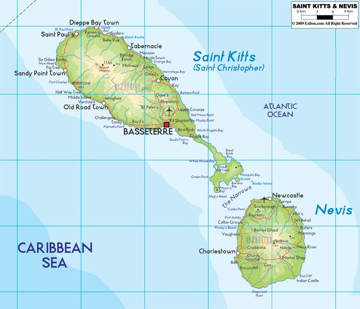St Kitts Map, Nevis Map, St Kitts and Nevis Map
