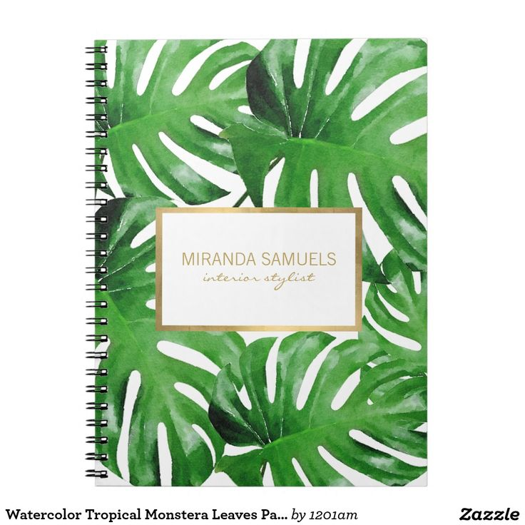 Tropical Chic Desk Accessories - Watercolor Monstera Leaves Pattern Personalized Notebook
