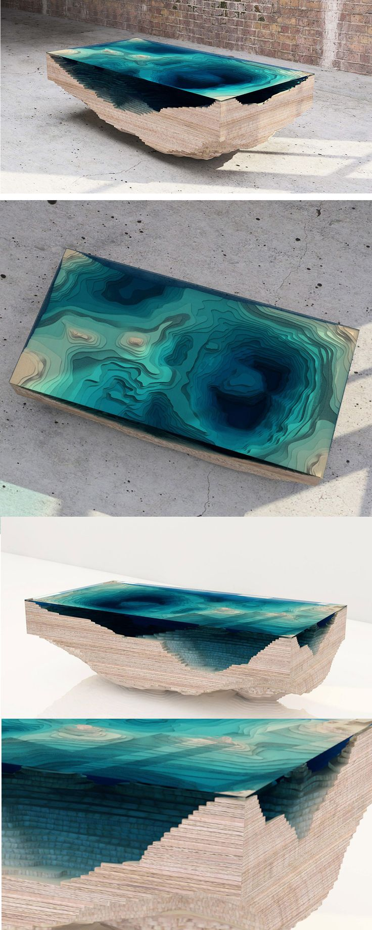 Arcylic and wood, lagoon table.