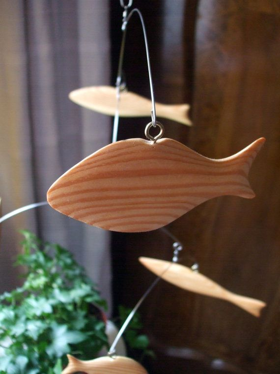 Fish Mobile Natural Wooden Hanging Decor / All by MultiColori #Mobiles, #FishMobile, #WoodenMobile,