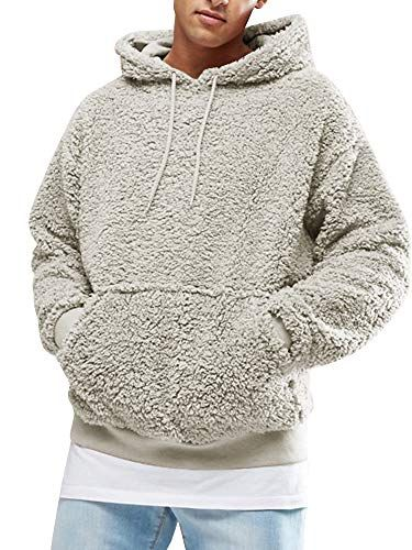 6a75afcb7 The perfect Runcati Mens Sherpa Hooded Pullover Fuzzy Sweatshirts Long  Sleeve Jackets Fleece Fluffy Front Pocket