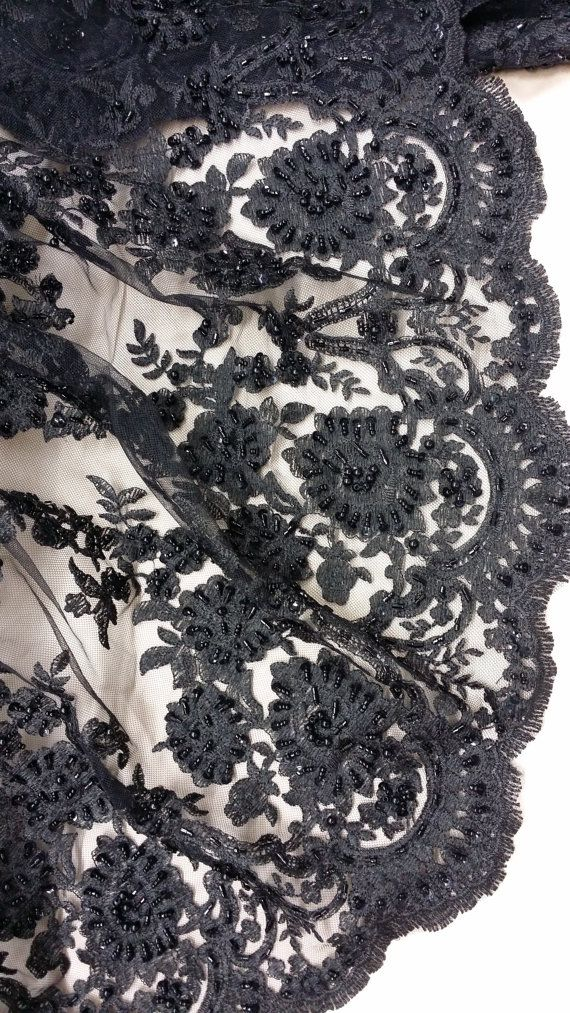 Black beads lace fabric Beads lace fabric Gorgeous by LaceToLove