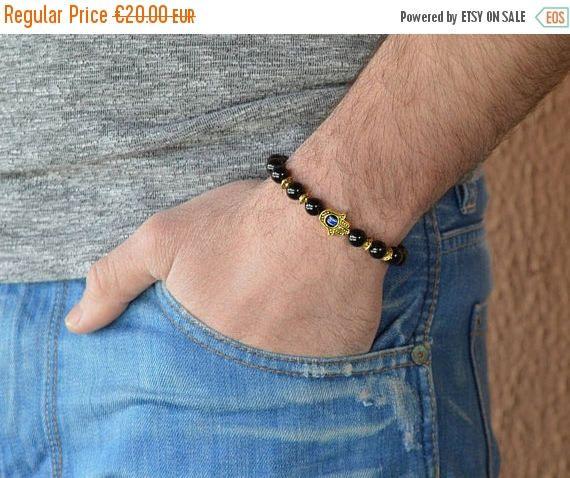 ON SALE hamsa hand men's bracelet, bracelet for men, black bracelet, black onyx bracelet, hamsa hand bracelet, bracelet for men, men's jewel