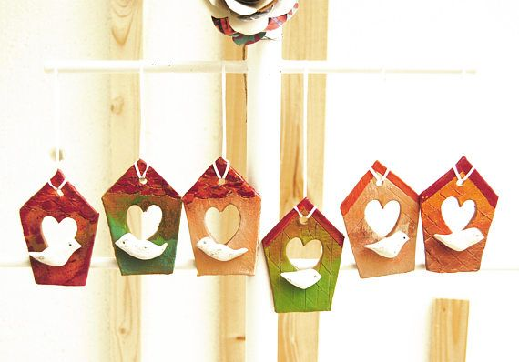 Birdhouse ornament Christmas tree ornaments Cute Christmas