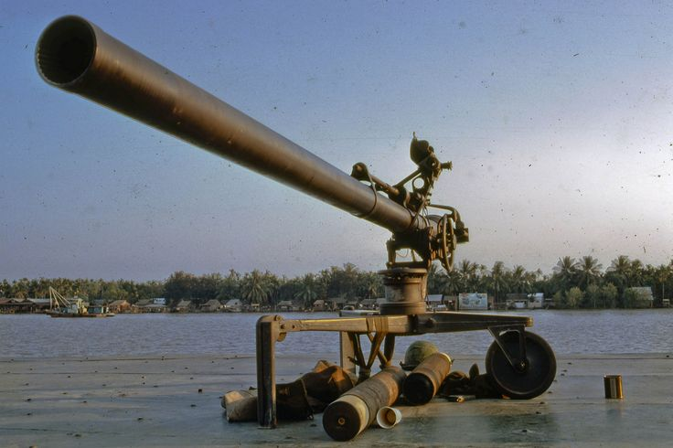 M-40 106 mm recoiless rifle on the U S Navy SEALS op support boat stationed at My Tho on the Mekong River in Dinh Tuong Province, Vietnam.
