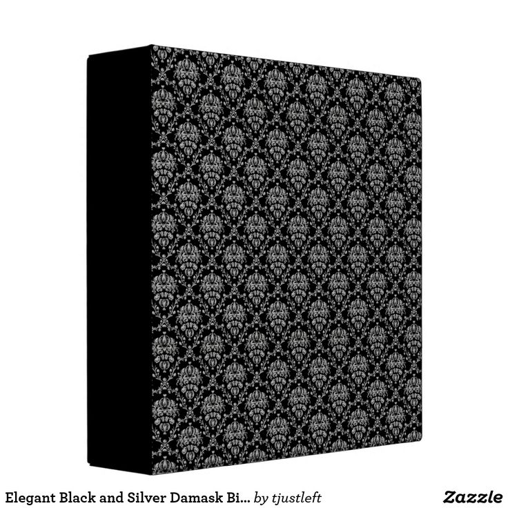 Elegant Black and Silver Damask Binder