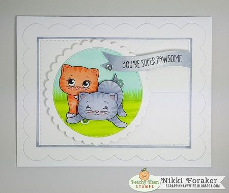 PK-2007 Here Kitty Cupcake: Peachy Keen Stamps | Home of the original clear, peach-tinted, high-quality whimsical face stamps.