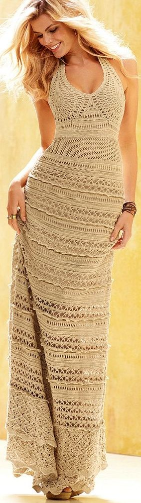 tan crochet maxi dress