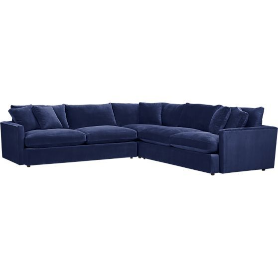 Lounge 3-Piece Sectional Sofa - navy velvet | Crate and Barrel
