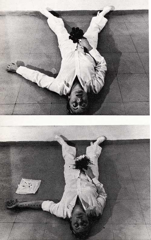 "Gina Pane (b. 1939 - d. 1990, French/Italian), ""Azione Sentimentale"" [Sentimental Action], (1974)  -  Performance, Body Art, '70s."