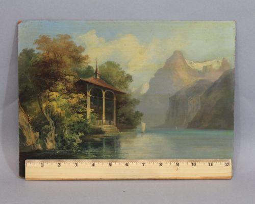 Antique Oil Painting Lake Lucerne Switzerland Tellskapelle William Tells Chapel