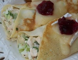 Jane's Mini-Crepes Filled with Chicken Salad and Topped with Melted Brie and Cranberries