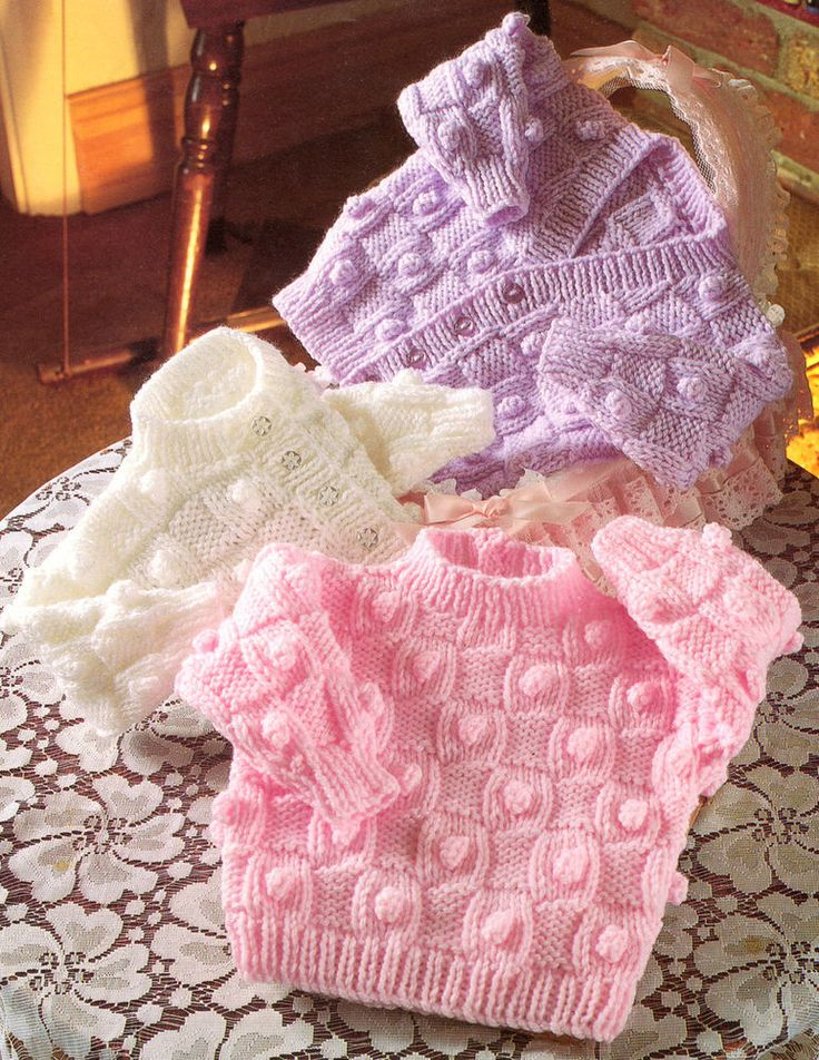 "Aran Basketweave & Bobble Cardigans & Sweater 16"" - 22"" Knitting Pattern"