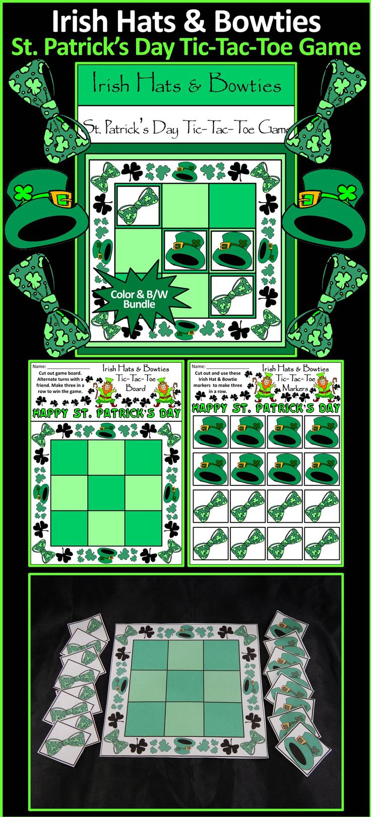 Irish Leprechaun Hats & Bowties & Rainbows St. Patrick's Day Tic-Tac-Toe Game: Contains all the necessary components for playing the classic game. All pieces are decorated with Irish Leprechaun Hats & Bowties for a rollicking Irish celebration! Great fun as a St. Patrick's Day game or party favor!  #St. #Saint #Patrick's #Day #Party #Game #Activities #Teacherspayteachers