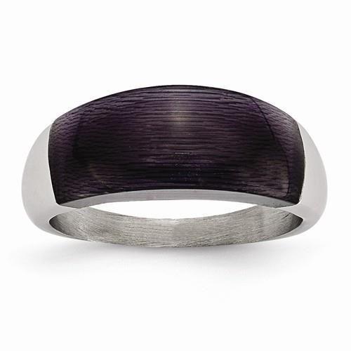 Chisel Stainless Steel 8Mm Black Cat's Eye Ring Sr197-6