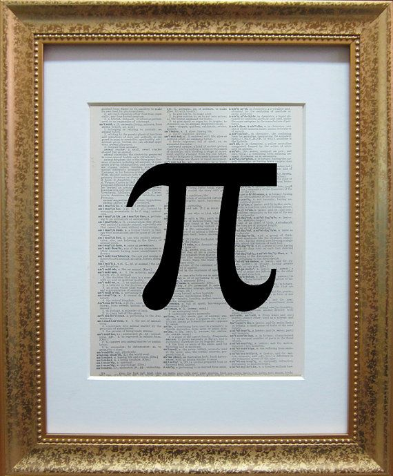 Mathematical Pi symbol printed on a page from an antique dictionary on Etsy, $7.95