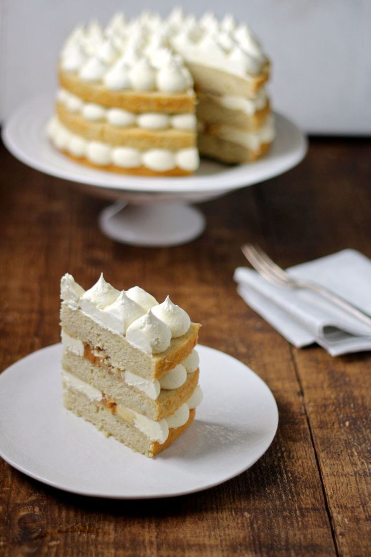 Banoffee Cake: a cake version of banoffee pie -  banana sponge layered with caramel sauce and buttercream.