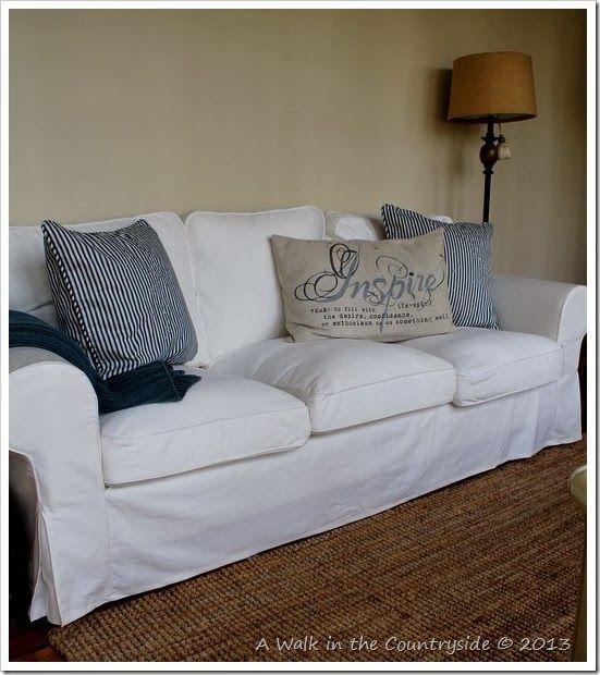 Ikea Ektorp sofa and Pottery Barn Pillows