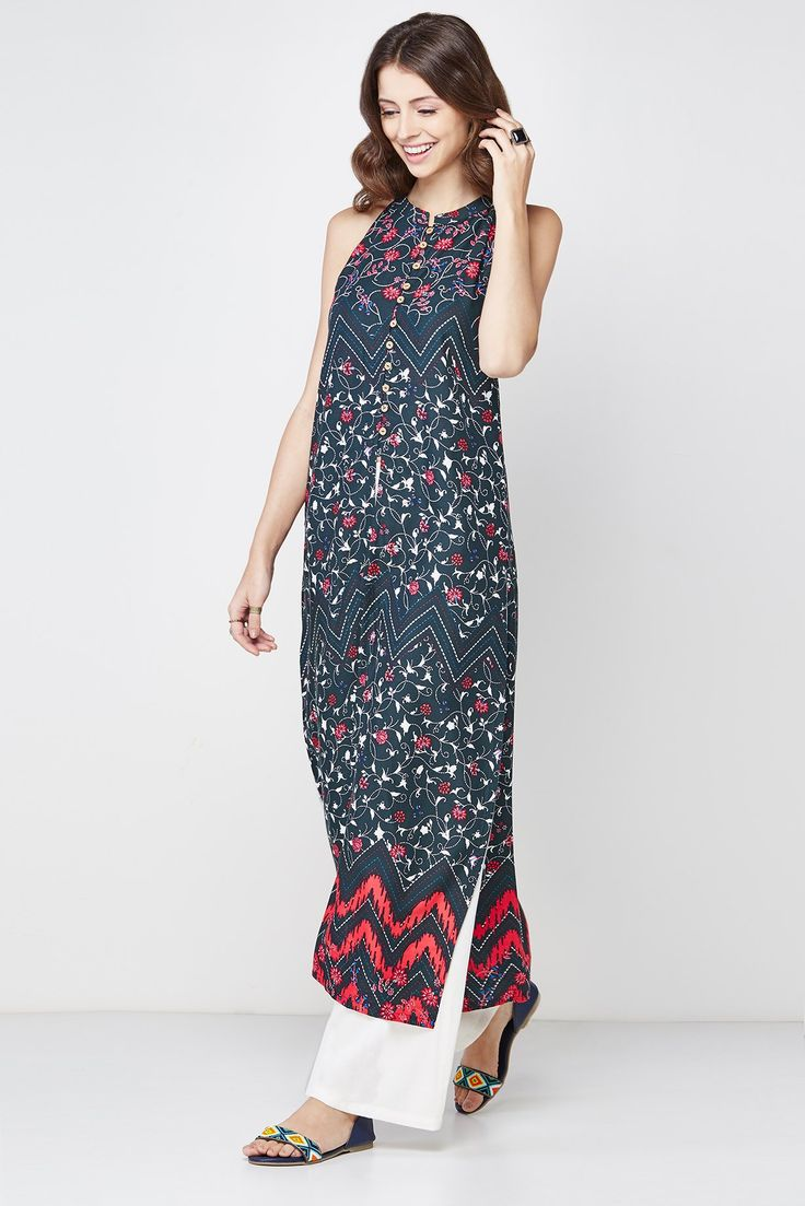 In-cut sleeves kurta in black rayon featuring mix of floral and chevron print, a stand collar, a half-button placket with a long front slit and side slits on both the sides.