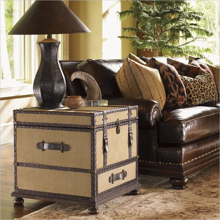 Lexington Fieldale Lodge Gunnison Trunk Table In Distressed Brown Mahogany Living Room End