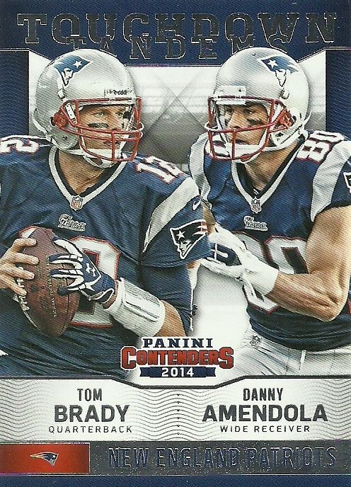 2014 CONTENDERS TOUCHDOWN TANDEMS TOM BRADY AMENDOLA PATRIOTS 50 CENT SHIP…