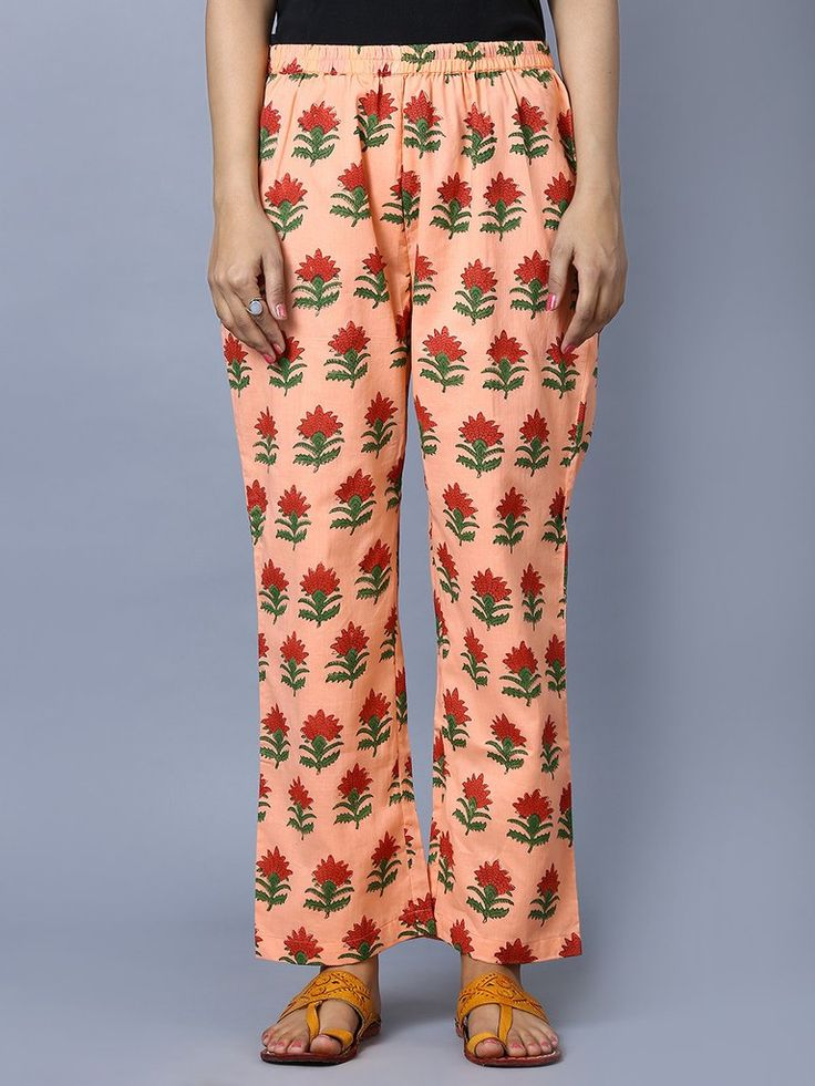 Peach Cotton Mul Block Printed Pants