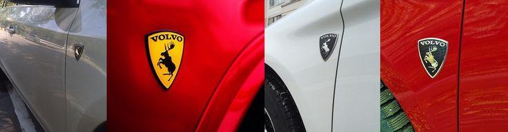 """""""Вольво лось""""  Эксклюзивная клубная геральдика Volvo с гарцующим лосем, на эмблемы в виде щита. В наличие с доставкой в регионы, размер шильдиков с бегущим лосем Вольво составляет 80 х 60 мм, сделаны на жёлтом и чёрном фоне из металлизированного 3D пластика. Значки Volvo лось крепятся на передних крыльях и на задней части кузова и крышки багажника на автомобилей всех моделей Вольво, за счёт самоклеящейся основы, которая уже нанесена на обороте эмблем """"VOLVO ЛОСЬ"""""""