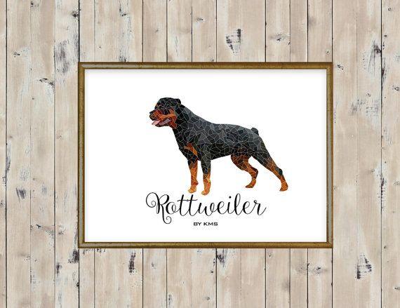 ROTTWEILER printable. Rottweiler dog minimal by KeepMakingSmiles